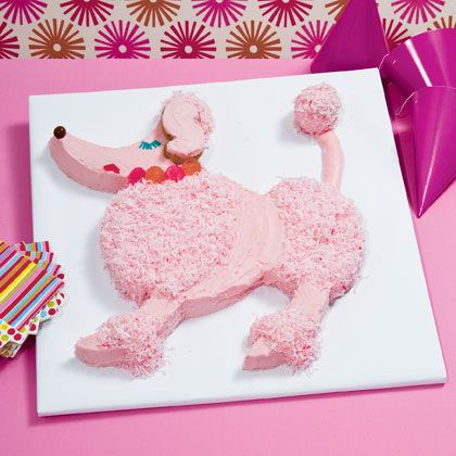 Pampered Poodle Cake: Assembled entirely from two round cakes, this pink poodle is paws-itively perfect for posh parties of all kinds, including bashes with a spa, Hollywood, or '50s flavor.