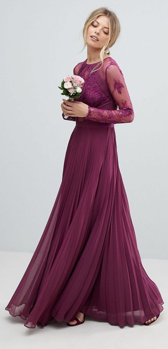 Plum Long Modest Bridesmaid Dress Asos Design Bridesmaid Maxi Dress With Lace Sleeves And Asos Prom Dresses Beautiful Bridesmaid Dresses Prom Dresses Modest