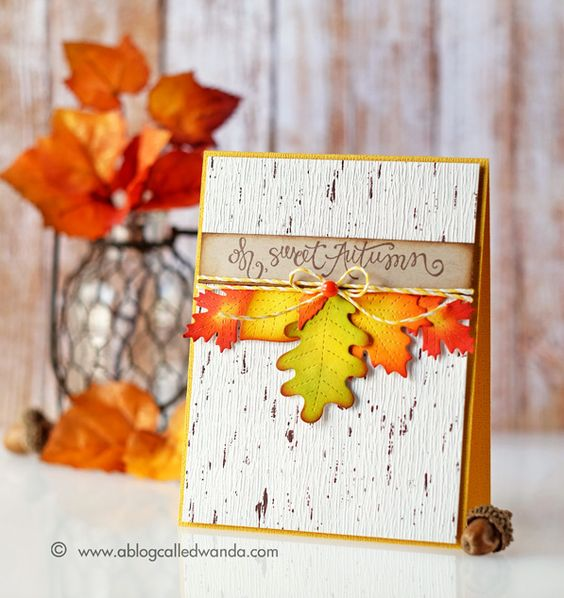Autumn Card using Lawn Fawn Stitched Leaves and Distress Inks. Card by Wanda Guess