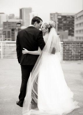 Love this sweet B&W shot of the bride & groom. Adorable! #weddingphotography #bride&groom #denverweddings