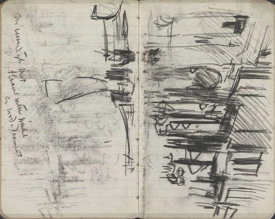 George Hendrik Breitner | Gezicht op de Nieuwendijk te Amsterdam, George Hendrik Breitner, 1893 - 1898 | Pagina 69 en pagina 70 uit een schetsboek met 38 bladen.