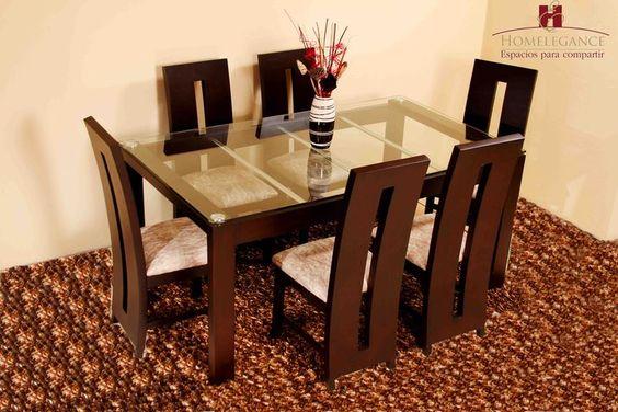 Juego comedor 6 sillas sherman sobre vidrio y madera for Juego de comedor de madera