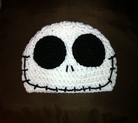 Jack Skellington Hat Knitting Pattern : JACK SKELLINGTON Nightmare Before Christmas Crochet Hat Beanie Nightmare be...