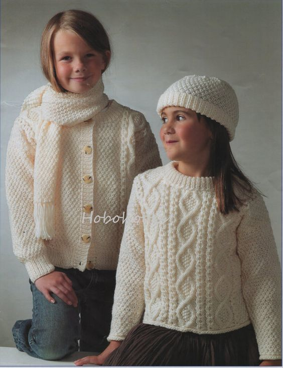 Baby Childs childrens Aran Sweater Cardigan Hat Scarf knitting pattern PDF Aran Jumper 20-30inches Aran Worsted 10ply PDF instant download PLEASE NOTE PATTERNS ARE IN ENGLISH ONLY Please refer to the pictures above for information from pattern on sizes, materials used, needle size etc. Click on the white arrow half way up the picture on the right side. Where a discontinued yarn is used, I check the needle size for a modern equivalent and include in the description. This is meant as a guide o...