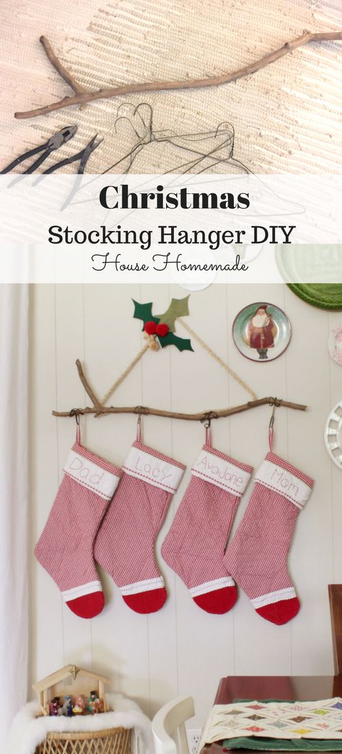 Easy DIY Stocking Hanger from a Stick, Wire Hangers and Rope! |  House Homemade #diystockinghangers #christmasstockinghangers #stockinghangers #handmadestockinghangers #christmasstockinghangerstomake #christmasdecorations #diychristmasdecorations