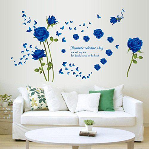 Amaonm Fashion Romantic Rose Flower Wall Decals Flower Vines