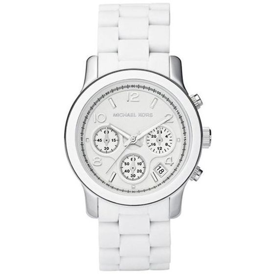 Pre-owned Michael Kors MK5423 White Dial White Polyurethane... ($149) ❤ liked on Polyvore featuring jewelry, watches, white faced watches, analog chronograph watch, chrono watch, michael kors and preowned watches