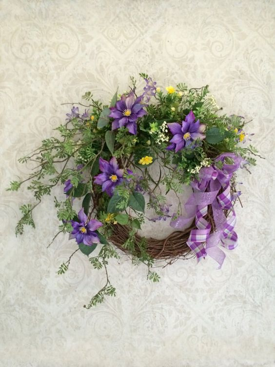 Purple Spring Wreath, Easter Wreath, Spring Decor, Spring Door ...