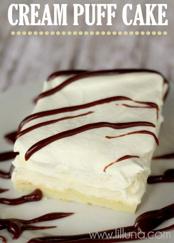 Cream Puff Cake. Oh my heavens - the best cake ever!!! Recipe on { lilluna.com } RECIPE