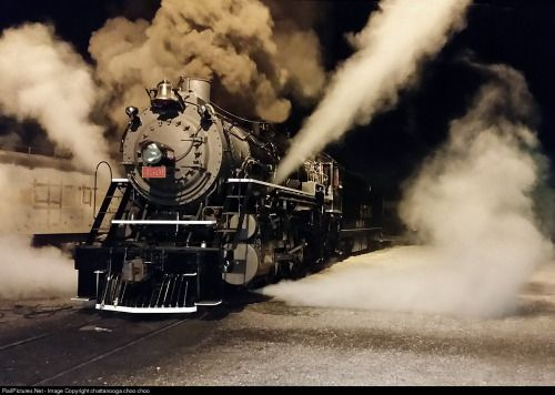 4501 backs out of the Soule Shops Thursday night. (via RailPictures.Net Photo: Sou 4501 Southern Railway Steam 2-8-2 at Chattanooga, Tennessee by chattanooga choo choo)