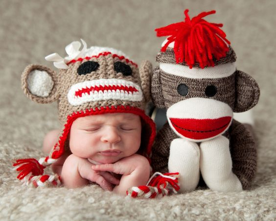 Sock Baby & Sock Monkey --- Cute newborn picture for you Bec!