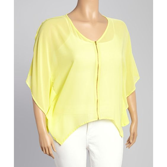 3 Angels Lemonade Zip-Up Top ($17) ❤ liked on Polyvore featuring plus size women's fashion, plus size clothing, plus size tops, plus size, womens plus tops, layered tops, yellow top and double layer top