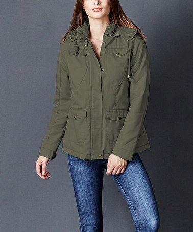 This Olive Faux Fur-Hood Cotton-Padded Front Pocket Jacket is perfect! #zulilyfinds