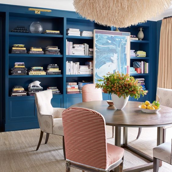 Apartment Blue Book: Cobalt Blue Library In A Park Avenue Apartment Designed By