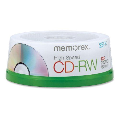 Memorex High Speed CD-RW Discs - 700MB - 120mm - 25 Pack Spindle by Memorex Products. $20.77. Memorex High Speed CD-RW Discs - 700MB - 120mm - 25 Pack Spindle CD-RW High Speed media is designed to be compatible with 8X to 12X computer CD Rewriters. Ideal for archiving data files, digital photos, and audio files or performing regular backups. Rewritable design allows you to write, erase, and rewrite data. Rewritable media allows erasing and updating files on the same disc u...