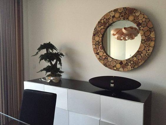 Espelho em Madeiras naturais ! Wood slices mirror by Marco Carvalho  marcoartlife@gmail.com