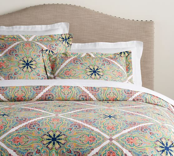 Penelope Medallion Organic Percale Duvet Cover Amp Shams With