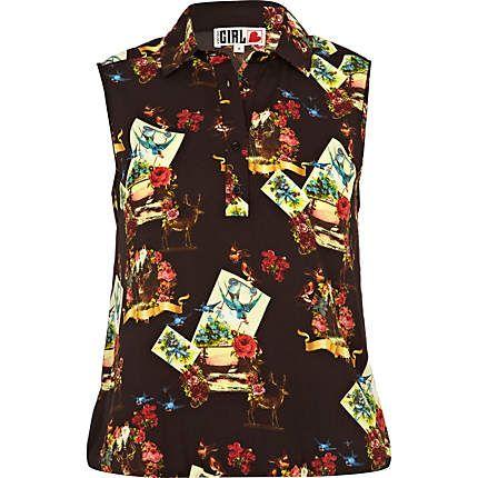 black bird print chelsea girl shirt - shirts - blouses / shirts - women - River Island