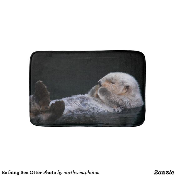 Bathing Sea Otter Photo Bathroom Mat
