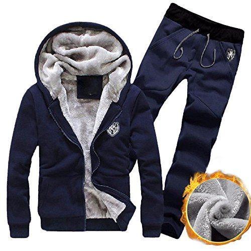 M/&S/&W Men Winter Thicken Fleece Full Zips Hooded Sweatshirt Tracksuit Set