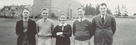Students in the memorial quad (formerly Kincaid Field) near the Art Museum in 1933.  From the 1934 Oregana (University of Oregon yearbook).  www.CampusAttic.com