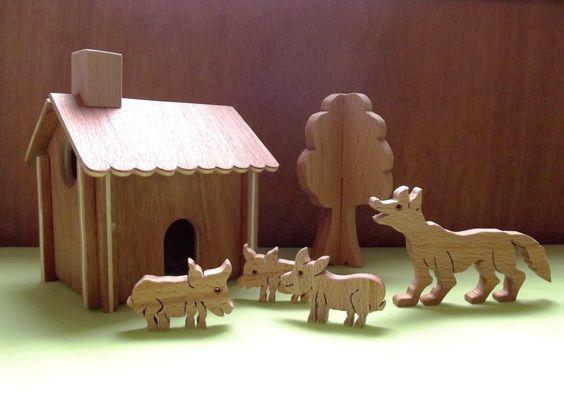 Jeu jouet enfant les 3 petits cochons cochons loup for Arbre maison jouet