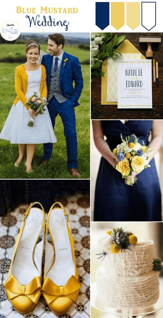 Blue Mustard Wedding Inspiration featuring a gorgeous couple photo, perfect shoes and a yummy looking cake!:
