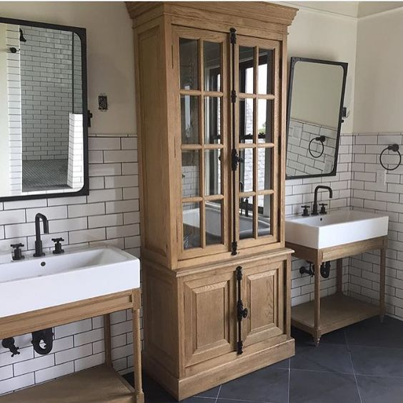 Bathroom inspiration #restorationhardware... to store towels.