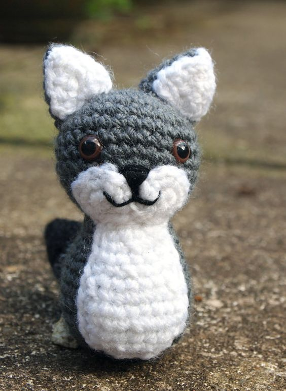 Wolf Amigurumi Cute Crochet Grey Wolf Plush Art Doll ...