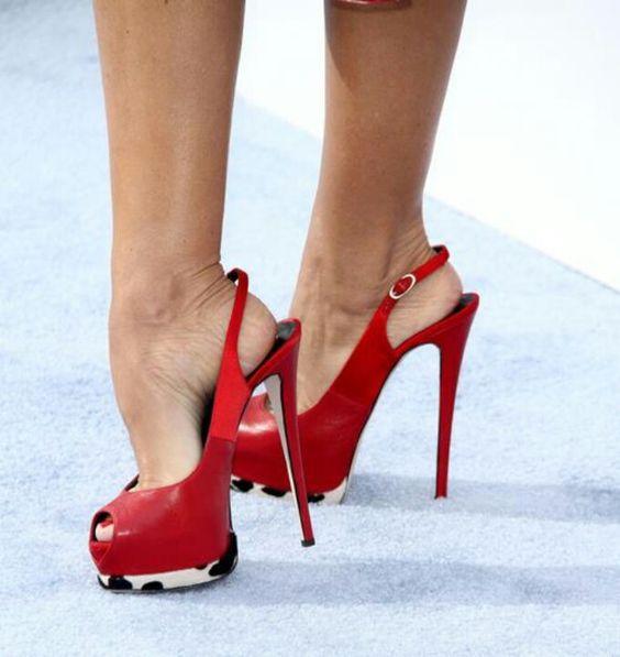 Beautiful arch red peep toe slingback   Heel fetish high arch ...