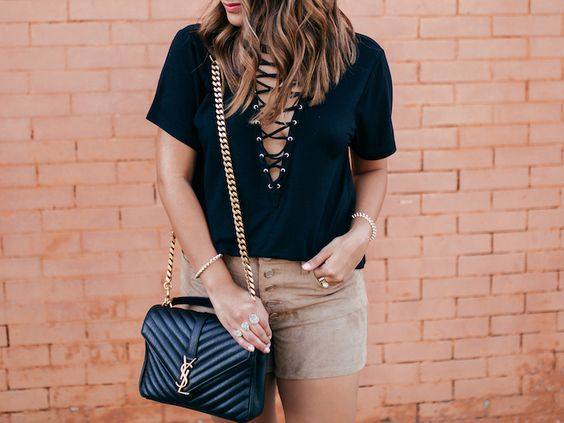 YSL bag, Yves Saint Laurent College Bag, tan suede shorts, kendra scott naomi ring, haute off the rack, louisiana fashion blogger, women's fashion, designer handbag, street style, express shirt, lace up top,