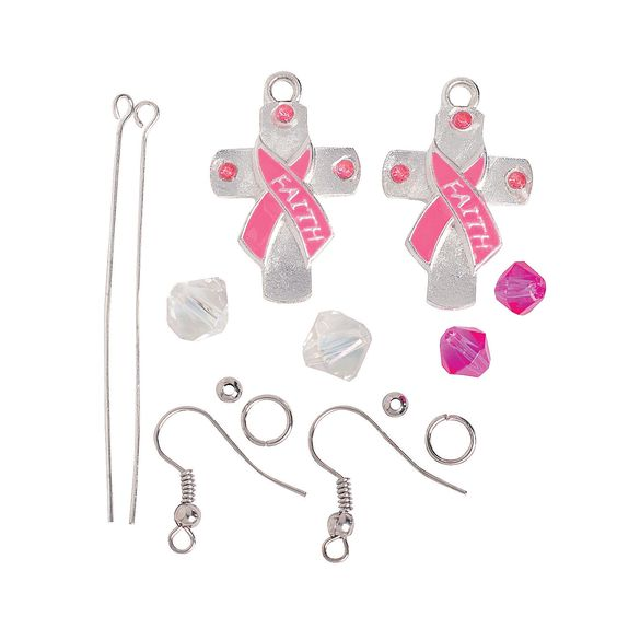 Pink Ribbon Cross Earrings Craft Kit - OrientalTrading.com