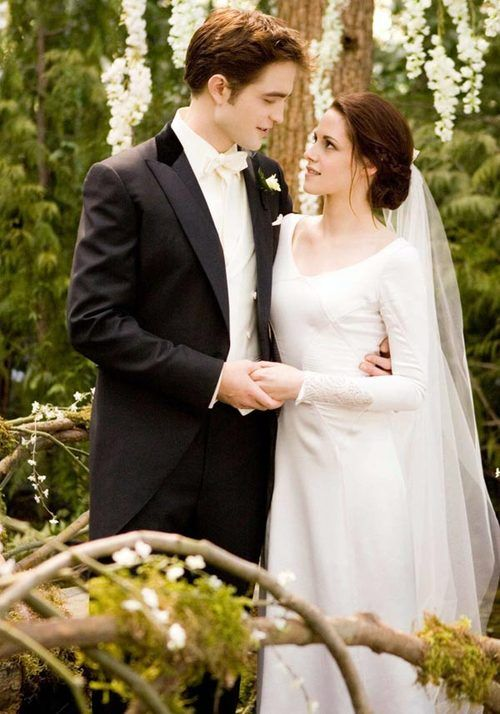 Bella swan's wedding dress and of course the utter looks of love.