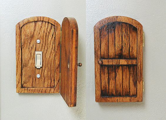 Distressed wood fairy hobbit door outlet switchplate cover for Wooden fairy doors to decorate