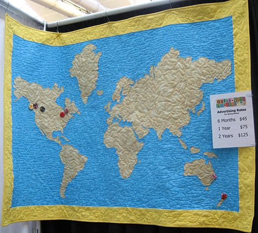 world-map-quilt   @Sarah Secret   This is an awesome idea. Make the quilt map, and add circles on the places you have been.  :-)
