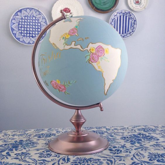 "Custom Wedding or Nursery Hand Painted Floral  8"" OR 12"" World Globe with Guestbook Option"