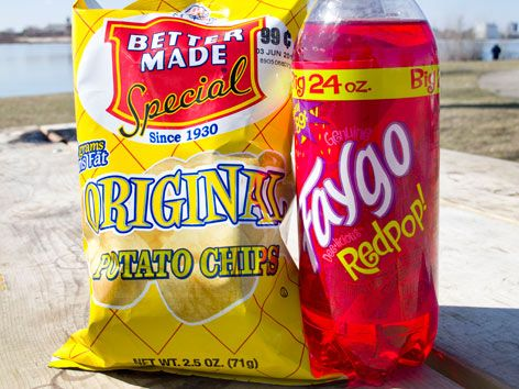 Better Made chips and Faygo Redpop.  Pure Detroit!