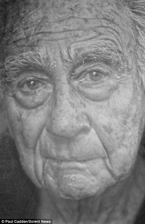 This is a pencil drawing of an old man by artist Paul Cadden