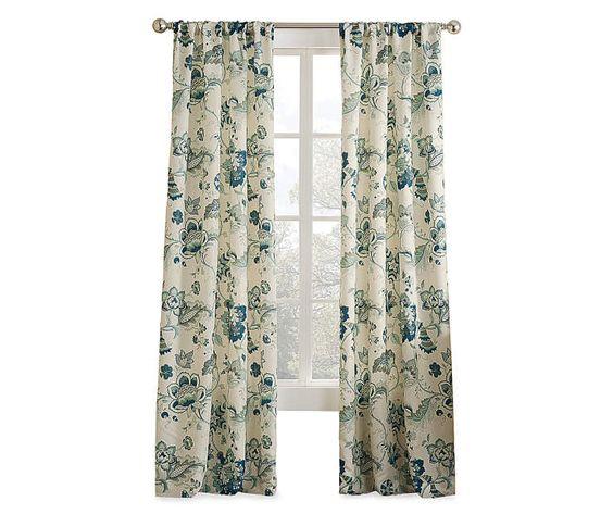 Blue Floral Curtain Panel, (84