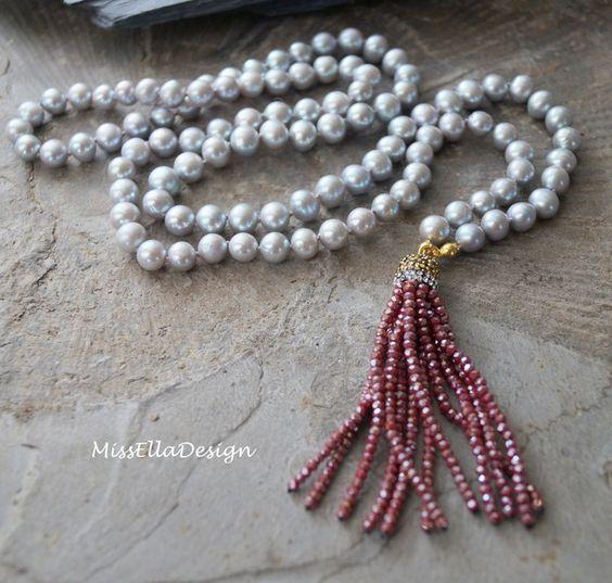 Perlenketten - Perlenkette Quaste 925 Silber vergoldet - ein Designerstück von edelsteinreich bei DaWanda