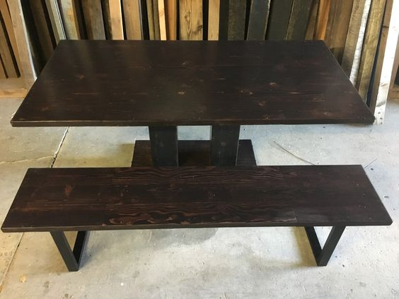 Reclaimed Wood Dining Table Bench Combo Custom Made To Order Through Website