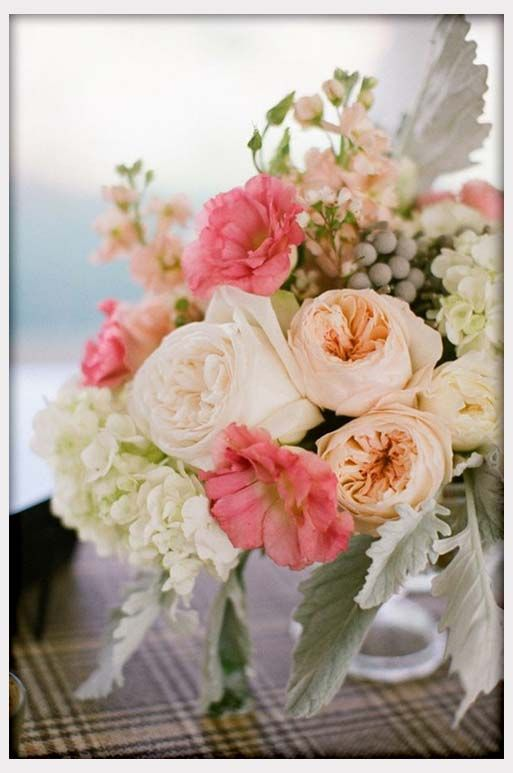 Wedding flowers coral peach white