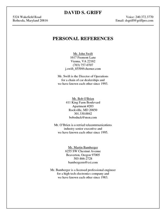 Personal References Template 7 Personal Reference Letter – Personal References Template