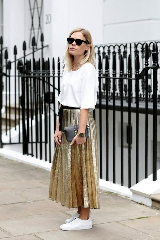 Le Fashion Blog Blogger Style Sunglasses White Tee Gold Pleated Skirt Black Belt Gold Watch Mini YSL Bag Sneakers Via We The People