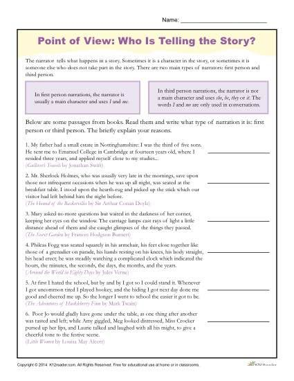 Collection of Ereading Worksheets Point Of View - Sharebrowse
