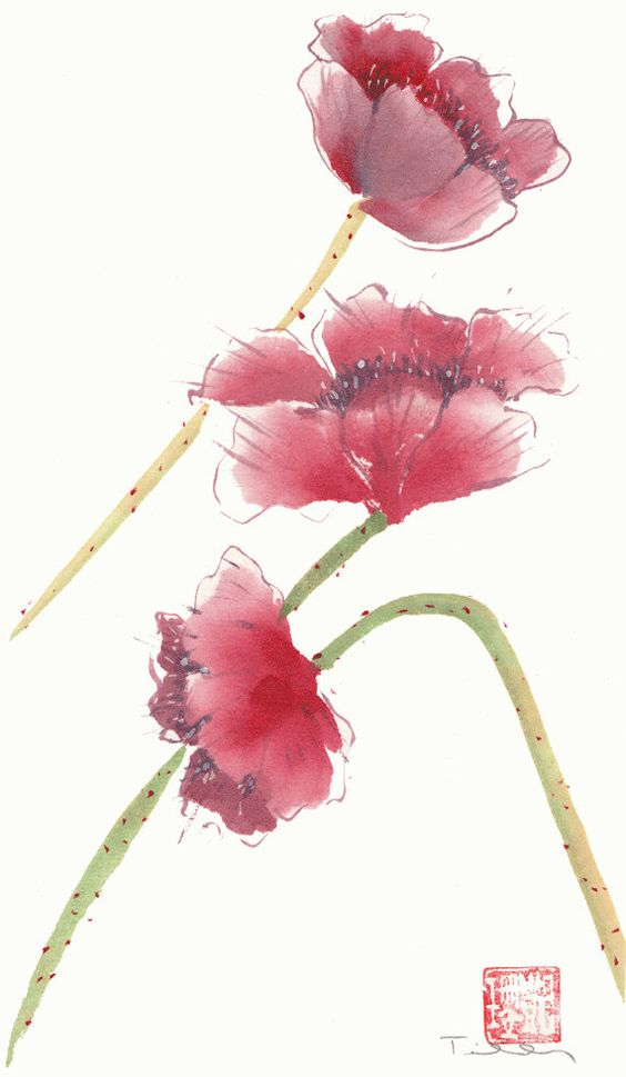 Watercolor Chinese brush painting of red poppies by 3katdesign, $70.00: