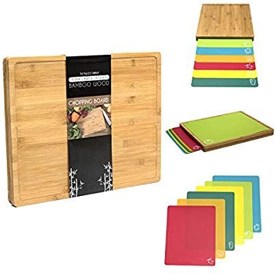 7 In 1 Winged Sirius Extra Large Indexed Bamboo Wood Chopping Board 42cmx34cmx3 5cm Set With Chopping Board Set Wooden Chopping Boards Wood Chopping Board