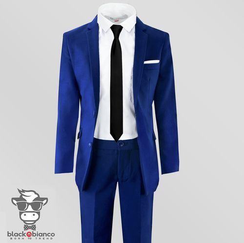 Black n Bianco Boys Solid Suit and Tie Formal Outift