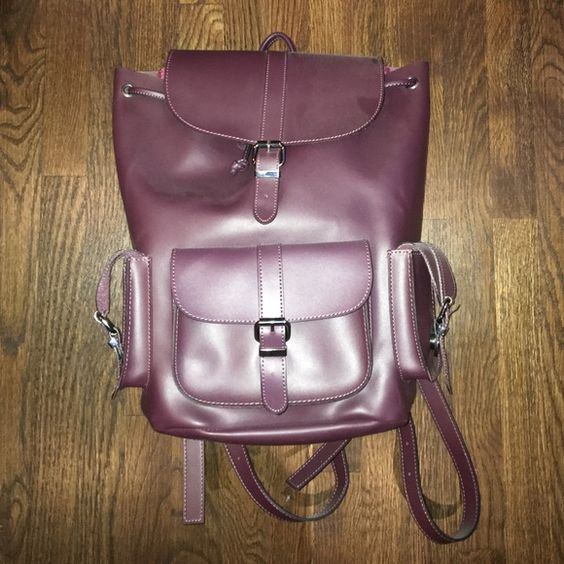 Aldo Plum Premium Leather Backpack Really great quality backpack I bought from Aldo last year, I just have literally never used it, so it's in perfect condition! Has magnetic buttons, adjustable string, and adjustable straps. Really great for school books and laptops. Offers Welcomed! ALDO Bags Backpacks
