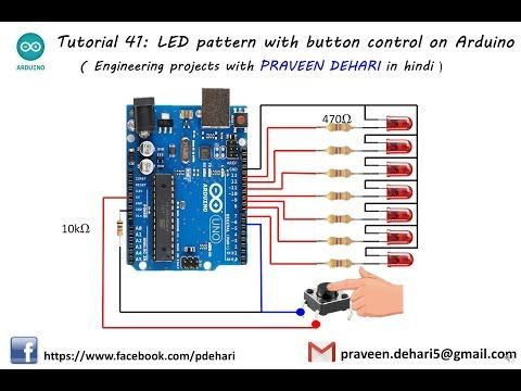 Led Pattern With Button Control On Arduino Tutorial 41 Youtube Arduino Tutorial Led